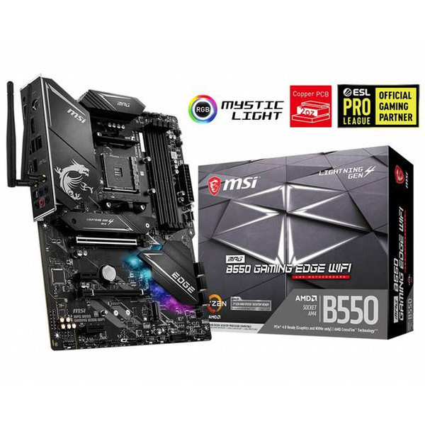 MSI MPG B550 GAMING EDGE WIFI AMD AM4 ATX Desktop Motherboard, The MPG series brings out the best in gamers by allowing full expression in color with advanced RGB lighting control and synchronization. Experiment on another level of personalization.