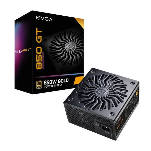 EVGA SuperNOVA 850 GT 220-GT-0850-Y1 850W 80 Plus Gold Fully Modular 7 Year Warranty Power Supply, 80 PLUS Gold certified, with 90% (115VAC) / 92% (220VAC~240VAC) efficiency or higher under typical loads Fully Modular to reduce clutter and improve airflow 100% Japanese Capacitors + OVP, UVP, OCP, OPP, SCP, and Dual OTP Protections Fluid Dynamic Bearing Fan and EVGA Auto ECO Mode for ultra-quiet operation and increased lifespan 7 Year Limited Warranty and unparalleled EVGA Customer Support