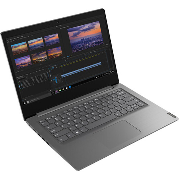 """Stay connected and productive on the go with the 14"""" V14 IIL Laptop in iron gray from Lenovo. Designed for responsive computing and web browsing, this laptop features a 1.2 GHz Intel Core i3-1005G1 dual-core CPU and 8GB of DDR4 RAM. Store files on the 256GB M.2 SSD or install an optional SSD or HDD using the 2.5"""" drive bay. Wired accessories can be connected using a USB 2.0 or two 3.1 Gen 1 Type-A ports. Use Bluetooth 5.0 to connect to wireless peripherals; access the internet using Wi-Fi 5."""