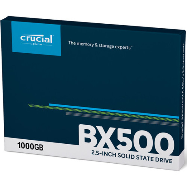 """Crucial BX500 1 TB Solid State Drive - 2.5"""" Internal - SATA (SATA/600), Ever wonder why your phone responds faster than your computer? It's because your phone runs on flash memory. Add flash to your laptop or desktop computer with the Crucial BX500 SSD, the easiest way to get all the speed of a new computer without the price. Accelerate everything."""
