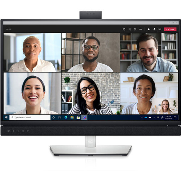 """Streamline your virtual meetings with the C2722DE 27"""" 16:9 IPS Video Conferencing Monitor from Dell, which features an integrated Full HD IR pop-up camera, dual 5W speakers, and a dedicated Microsoft Teams button. This display was built with an In-Plane Switching (IPS) panel, a 2560 x 1440 resolution, a 60 Hz refresh rate, a 16:9 aspect ratio, a 1000:1 contrast ratio, a 350 cd/m2 brightness, an 8 ms (GtG) standard response time and a faster 5 ms (GtG) response time, and support for 16.7 million colors and 99% of the sRGB color gamut. Setup is simple, as this display is equipped with one HDMI 1.4 input, one DisplayPort 1.4 input, one DisplayPort output with MST, and one USB Type-C port that supports DisplayPort 1.4, USB 3.2 Gen 1, and up to 90W of power. Additional peripheral connectivity may be accomplished using a second USB Type-C port that supports USB 3.1 Gen 1 and 15W of power, three 5 USB 3.2 Gen 1 Type-A ports, one of which supports device charging at 2A, a USB 3.2 Gen 1 Type-B port, a 3.5mm headphone jack, and an RJ45 network jack."""