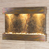 Shown with a rustic copper frame and rain forest green marble