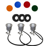 Stainless 3 light kit with colored lens covers