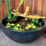 Adjustable Pouring Bamboo Fountain on pond