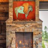 Red Buffalo Outdoor Wall Art