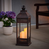 "San Nicola 28"" Triple LED Candle Lantern (Bronze)"