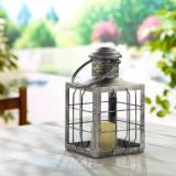 "Charles 12"" LED Candle Lantern (Antique Silver)"
