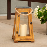 "Newport 15"" Candle Lantern - Natural Wood"