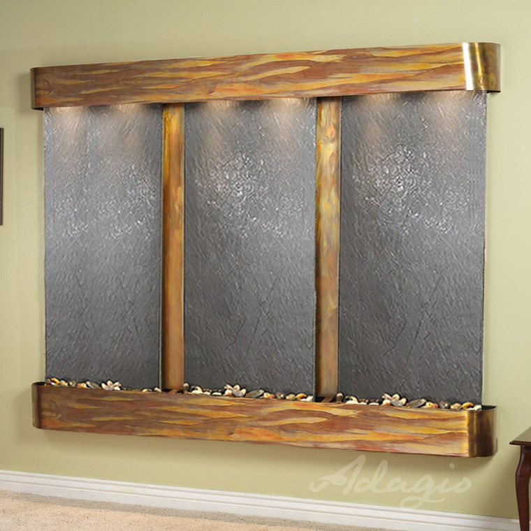 Shown with rustic copper frame and slate stone
