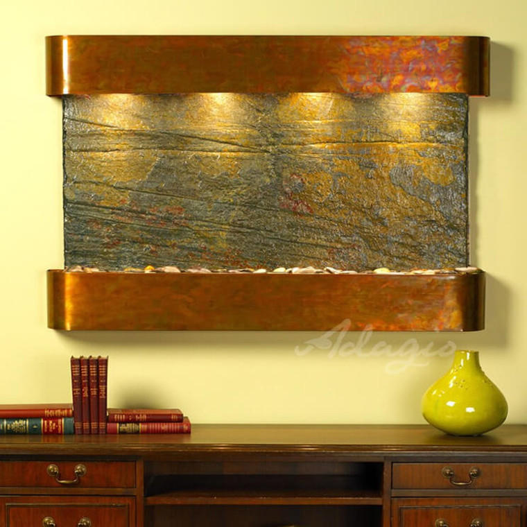 Adagio Sunrise Springs Wall Fountains in Rustic Copper - Rounded corners - Green Slate