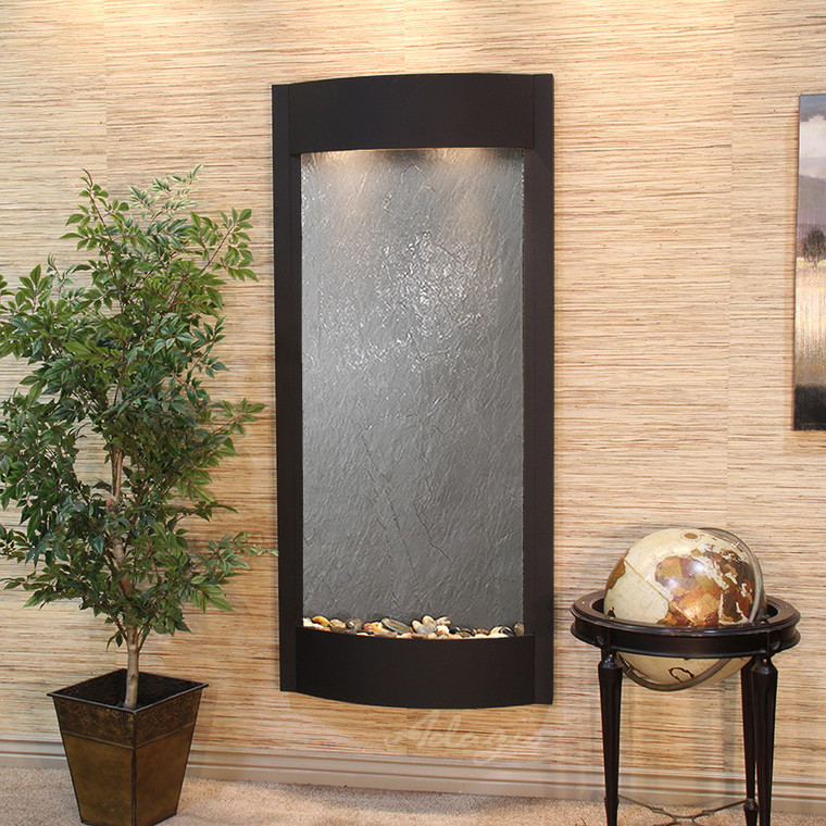Adagio Pacifica Waters Wall Fountains in Textured Black - Black Featherstone