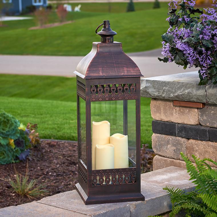 "San Nicola 28"" Triple LED Candle Lantern (Bronze)"