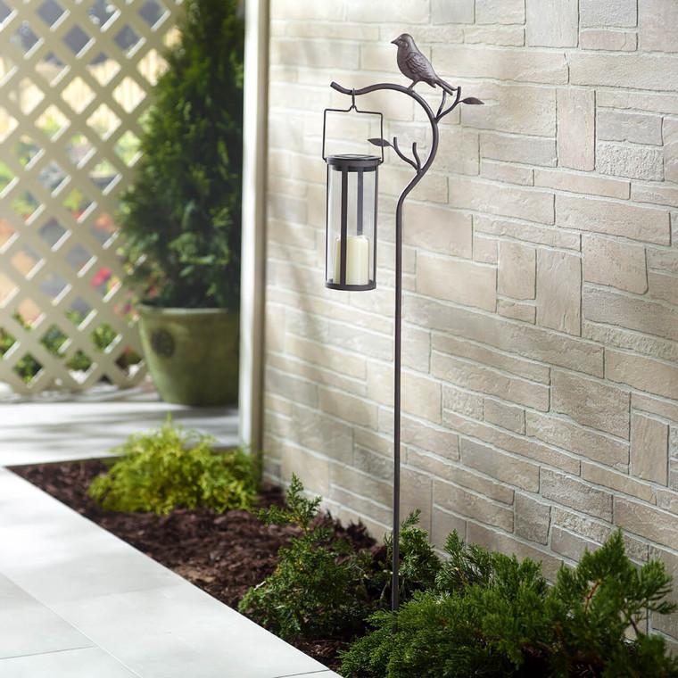 Provence Bird Stake with Solar Lantern