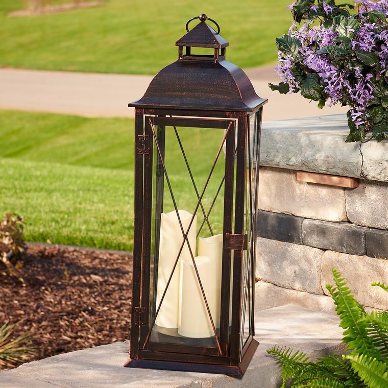 "Salerno 27"" Triple Pillar LED Candle Lantern (Antique Bronze)"