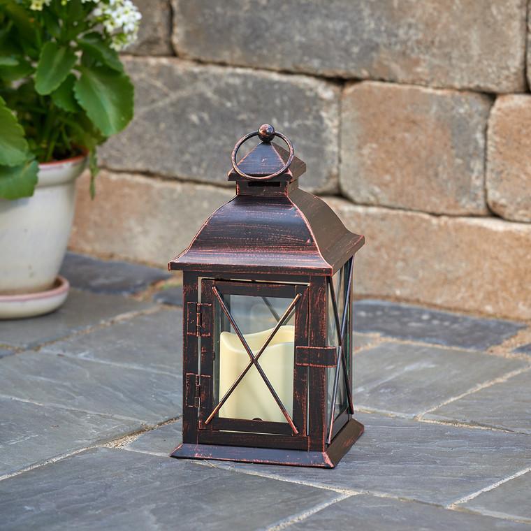 """Aversa 10"""" LED Candle Lantern (Antique Bronze)"""