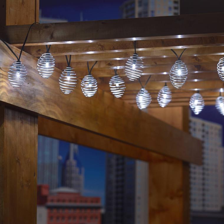 20 Silver Curvet LED Solar String Lights - Cool White