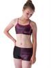 Girls dance shorts-Metallic pink and black criss cross