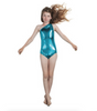 asymmetric shimmer one piece Turquoise