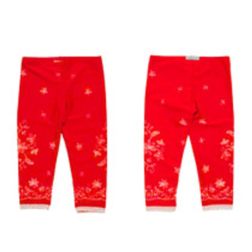 Girls Lace Icing with Sprinkles Leggings - Red