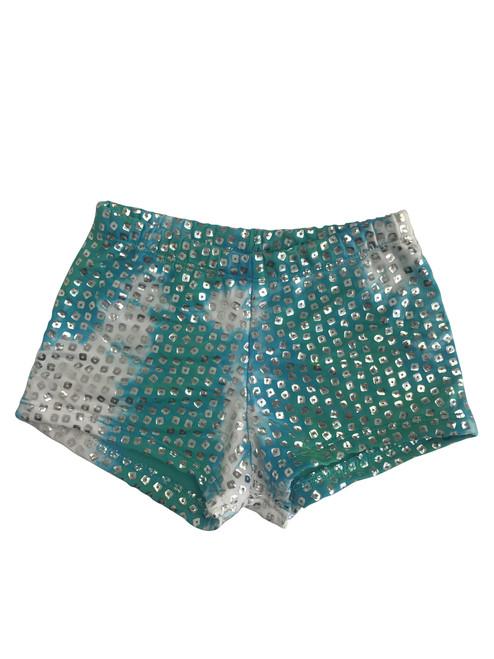 Girls dance shorts- Silver shimmer tie dye- Seafoam