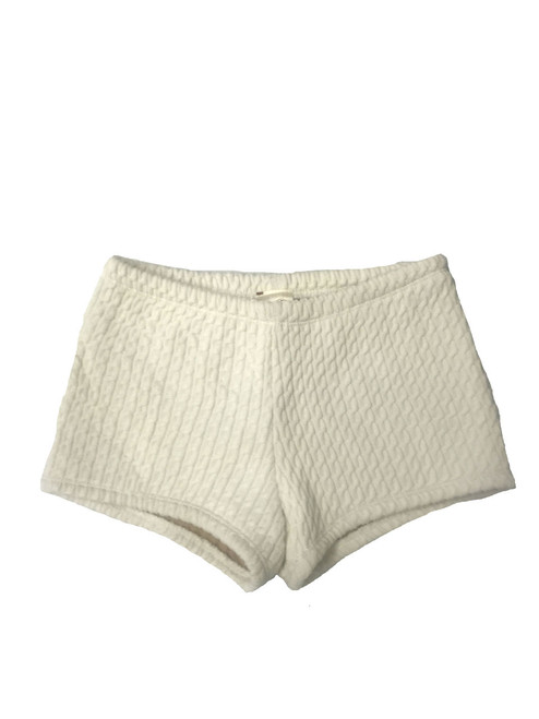 Girls Warm Up Dance Shorts- Cream Rib