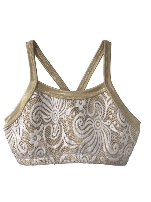 Girls Dance Top- Beige-White Lace