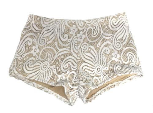 Girls  dance shorts- Beige-white lace