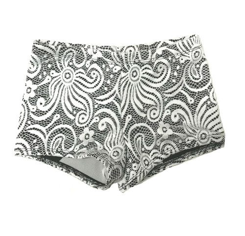 Girls  Dance Shorts-Shimmer Black-White Lace