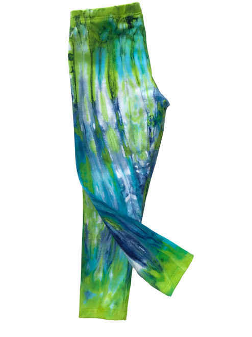 Girls Long Leggings- Northern Lights Swirl