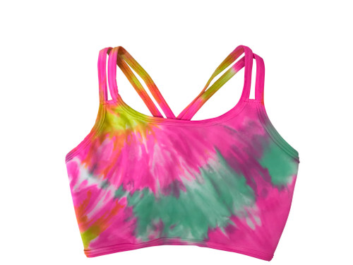 Girls  Criss Cross Dance Top-  Candie Neon Pink