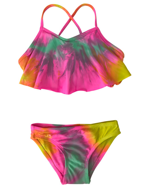 Girls Flutter Top Two Piece Swimsuit- Candie Neon Pink