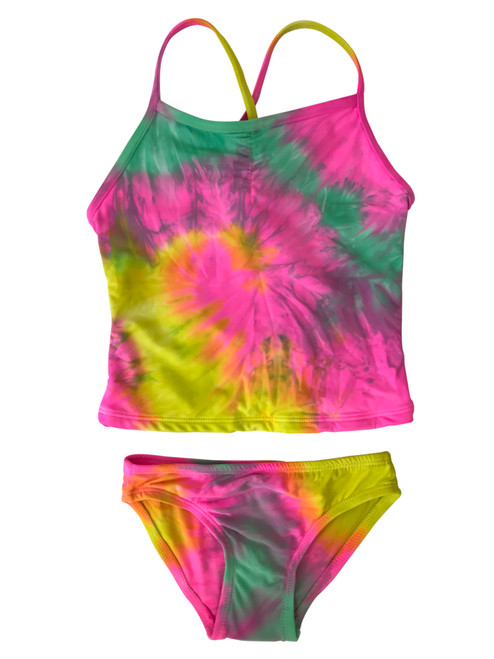 Girls tankini Two Piece Swim-  Candie Neon Pink