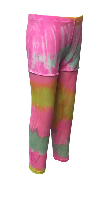 Girls Dance Mesh Legging/Shorts- Candi Neon Pink