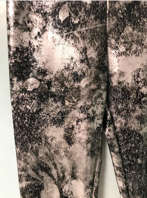 Girls Distressed Metallic Flower  Leggings- Black Silver Shimmer