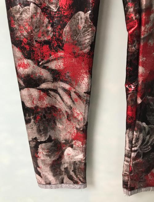 Girls Distressed Metallic Flower  Leggings- Black Red Shimmer