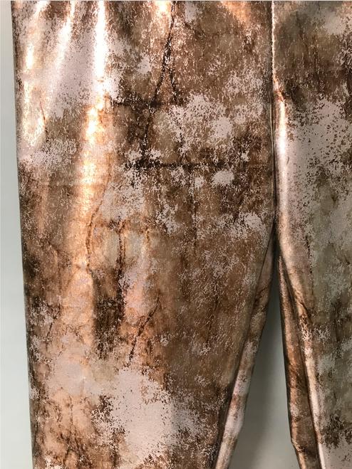 Girls Distressed Metallic  Leggings-  Silver  Bronze Shimmer