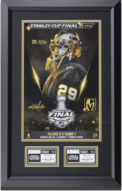 Las Vegas Golden Knight custom framed and matted Marc-Andre Fleury Stanley Cup Final poster with Game One Tickets.