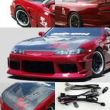 CS7074FK4 - Charge Speed 1995-1998 Nissan 240SX S-14 Conversion to S-15 Wide Body Complete Kit With Vented Carbon Hood