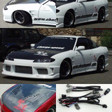 CS7072FK4 - Charge Speed 1989-1994 Nissan 240SX S-13 Conversion to S-15 Wide Body Complete Kit With Vented Carbon Hood