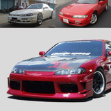 CS7074FK2 - Charge Speed 1995-1998 Nissan 240SX S-14 Conversion to S-15 Wide Body Complete Kit With Vented FRP Hood