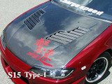 CS707HCV - Charge Speed 1999-2005 Nissan 240SX S-15 Vented Carbon Hood