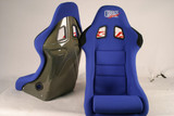 HK03O - Charge Speed Bucket Racing Seat Original Design Logo Shark Type Kevlar Blue PAIR