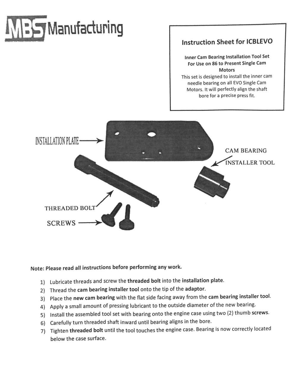 Harley Davidson Inner Single Cam Bearing Installer Driver Tool for EVO Evolution
