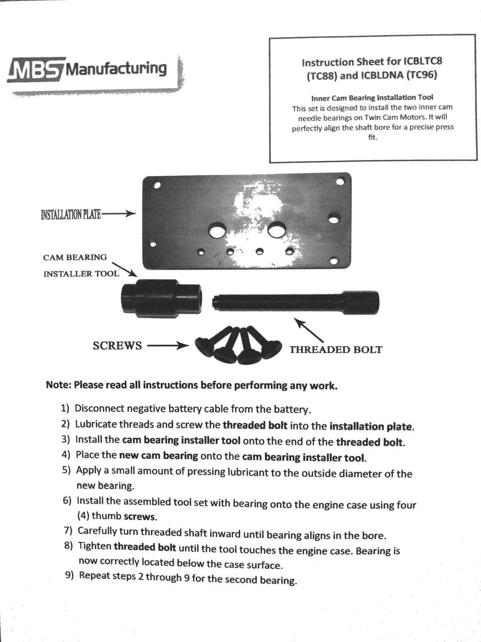 Harley Davidson TC 96 103 110 Dyna Twin Inner Cam Bearing Installer / Puller