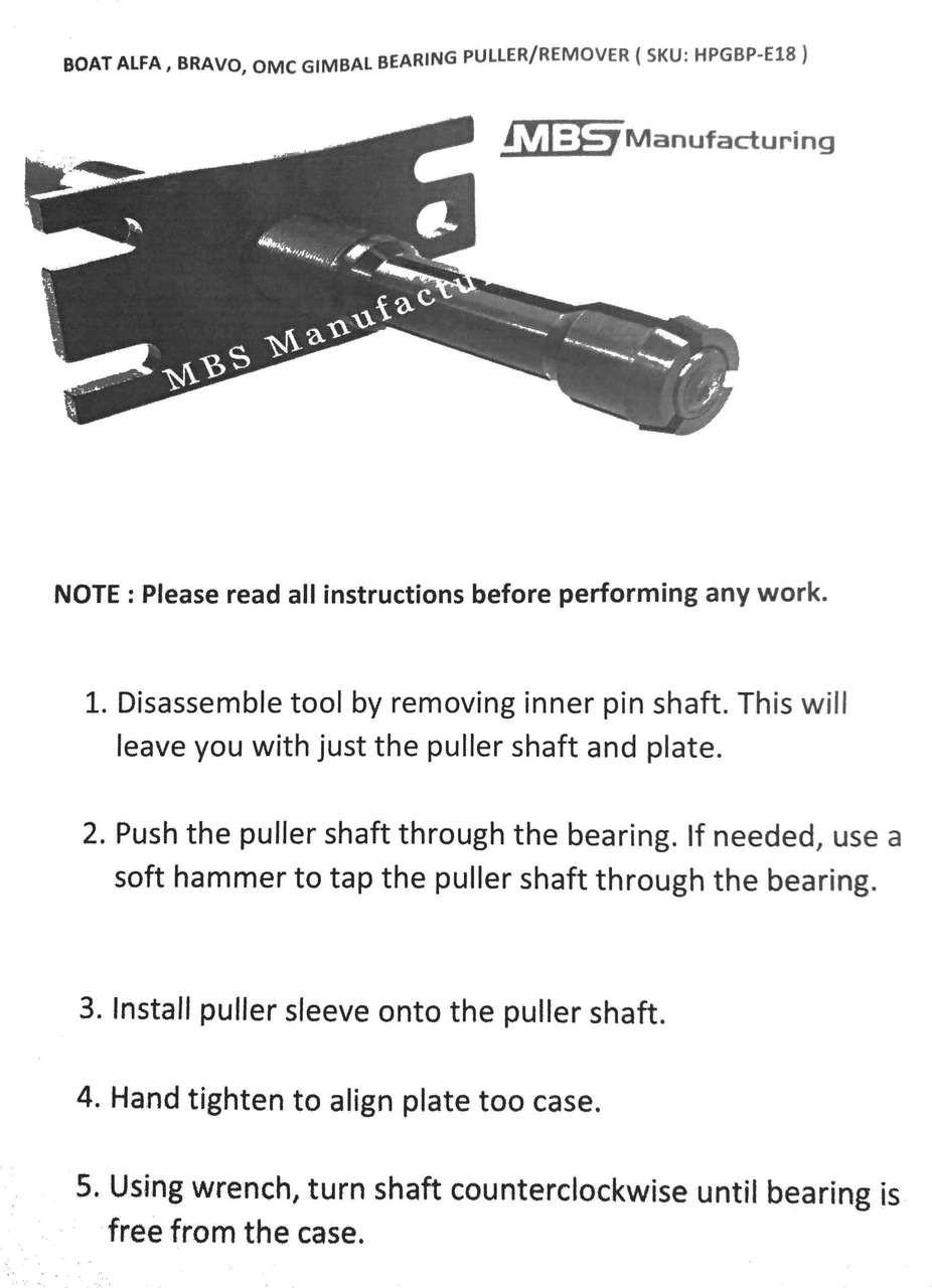 Alpha Bravo OMC Volvo Gimbal Bearing Installer Puller + Align Tool Mercruiser