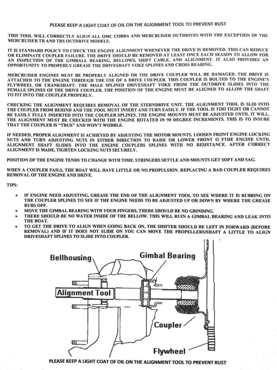 Alignment Bar (no ring) Gimbal Bearing Seal Bellow Tool Set Mercruiser 91-805475A1 OMC ( 6pc)