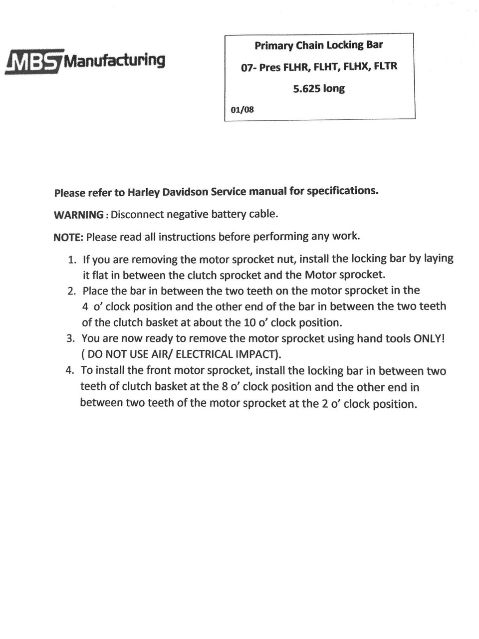 "Harley Davidson Primary Drive Locking Bar Tool 6 Speed FLHR, FLHX, FLHT, FLTR 5.625"" Long"