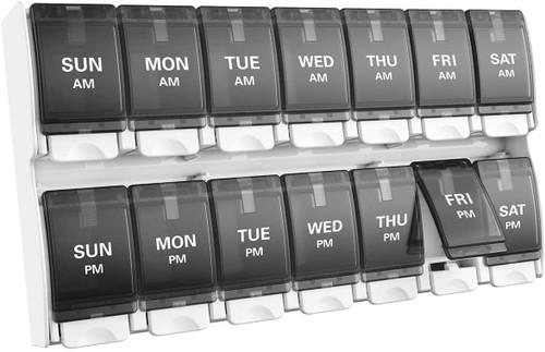 BUG HULL Large Capacity Push Button Pill Organiser - Black