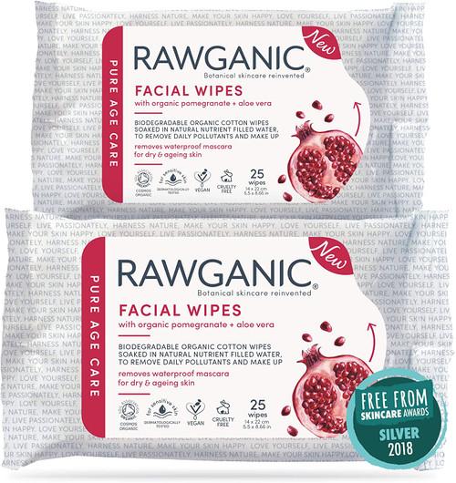 RAWGANIC Anti-aging Facial Wipes 2 Packs 50 wipes in total