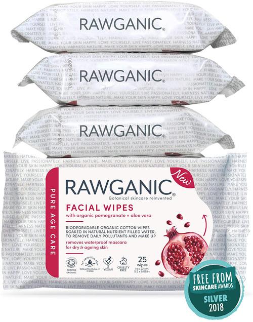 RAWGANIC Anti-aging Facial Wipes 4 Packs 100 wipes in total